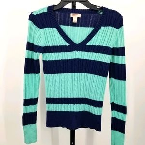 Arizona Jeans Cable Knit Color Block Sweater Large